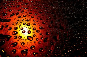 sunset water drops